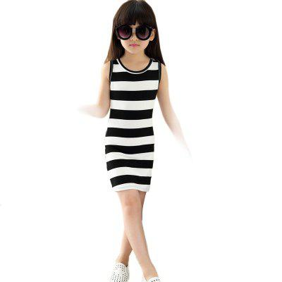 Summer Girls Classic Black and White Dress Cotton Striped T-shirt