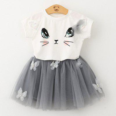 1036 Girls Short Sleeve Set Cute Cat T-shirt Puffy Skirt