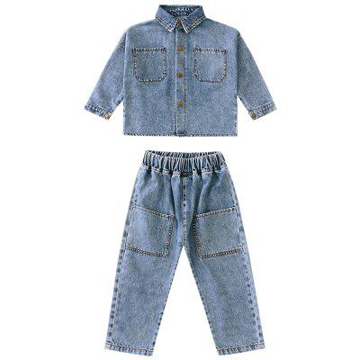 Girls Spring and Autumn Big Pocket Korean Fashion Denim Suit