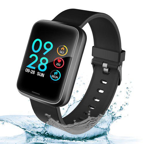 Gearbest Alfawise H19 RFID Sports Smartwatch Fitness Tracker - Black Heart Rate Blood Pressure Oxygen Monitor IP67 Waterproof 1.3 inch Color Screen Music Control Remote Shutter