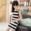 Summer Girls Classic Black and White Dress Cotton Striped T-shirt - BLACK