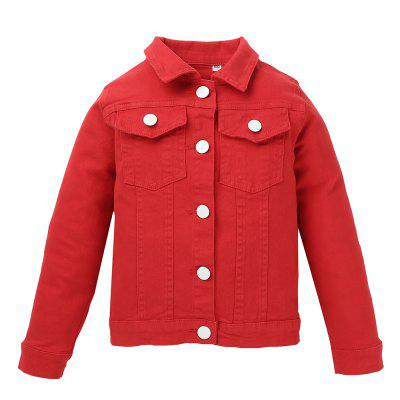 ET0171 Boys Girls Lapel Solid Color Denim Jacket