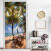 mt348 Beach Lounge Chair Coconut Scenery Door Sticker 2pcs - MULTI