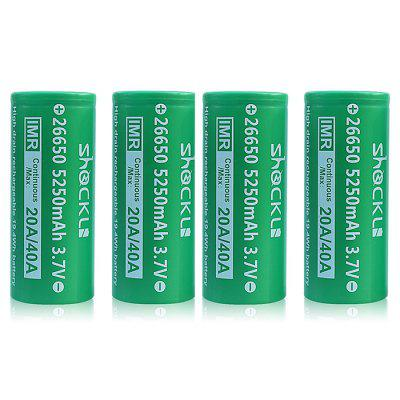 Shockli IMR 26650 5250mAh 20A 3.7V Flat Top Rechargeable Battery 4PCS
