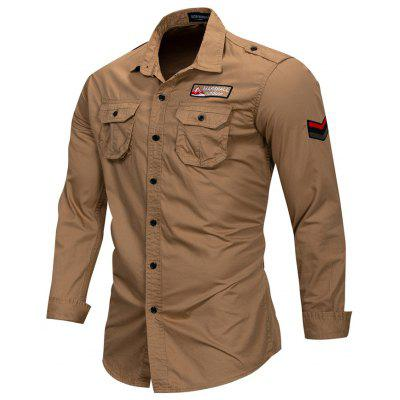 FREDD MARSHALL Men's Long Sleeve Military Style Shirt
