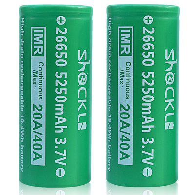 Shockli IMR 26650 5250mAh 20A 3.7V Flat Top Rechargeable Battery 2PCS