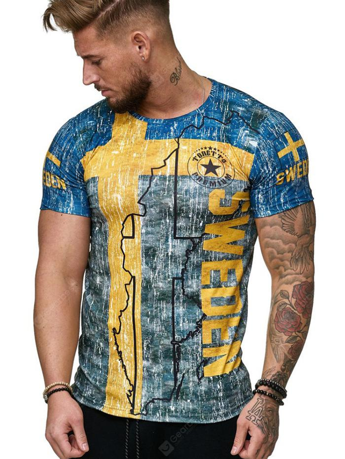 DX032 Male Round Neck Short-sleeved 3D Printing T-shirt