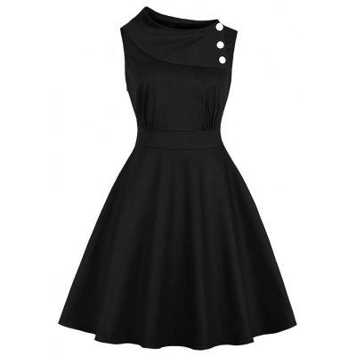 Diagonal Collar Button Retro Dress