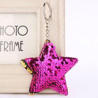 Cute Chaveiro Star Glitter Pompom Sequins Key Ring