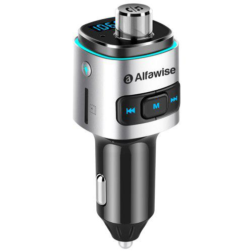 Gearbest Alfawise QC3.0 Bluetooth 4.2 FM Transmitter Car Charger - Silver