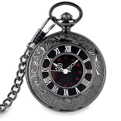 Black Classic Roman Word Double Pocket Watch Vintage Necklace