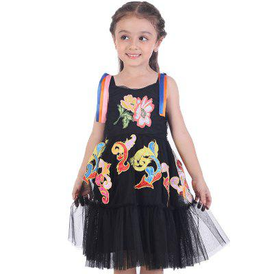 Duokipolla 8888 Girls Dress Sling Mesh Skirt Totem Embroidery