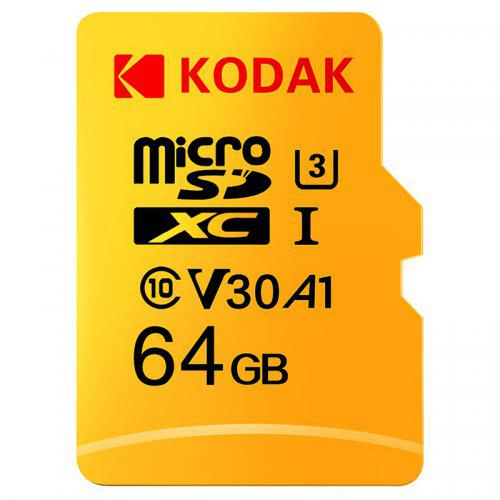 Gearbest Kodak High Speed U3 A1 V30 Micro SD Card TF Card - Yellow 64GB Support 4K UHD Video Recording Continuous Shooting 100Mb/s Reading Speed Memory Card