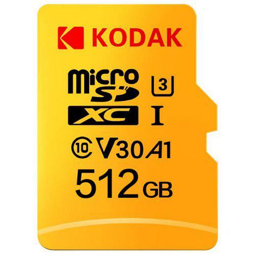 Gearbest Kodak High Speed U3 A1 V30 Micro SD Card TF Card - Yellow 512G Support 4K UHD Video Recording Continuous Shooting 100Mb/s Reading Speed Memory Card