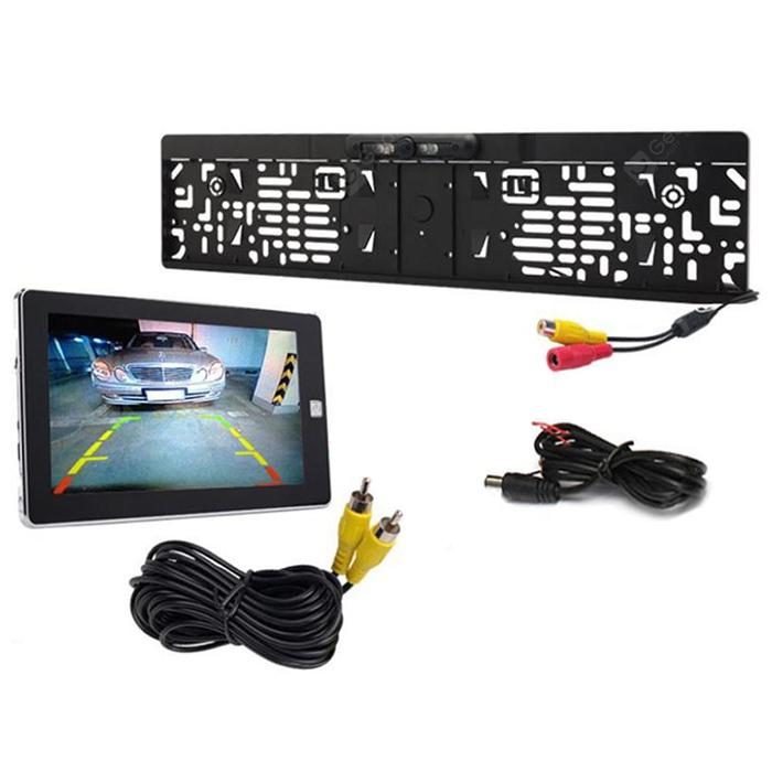 Car High-definition Rear View Camera European License Plate Frame - Black