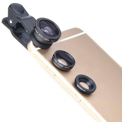 3 em 1 grande angular Macro Fisheye Mobile Phone Lenses Kit