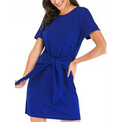 Women Bow Motifs Dress Short Sleeves