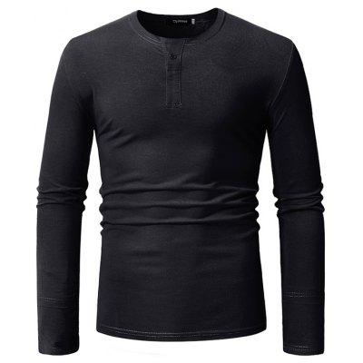 F316 Men Round Neck Casual Solid Color Long-sleeved T-shirt