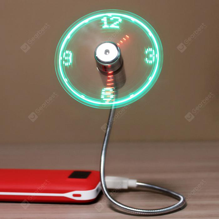 Multifunctional Durable USB Charging LED Clock Fan - Silver