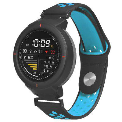 TAMISTER Two-color Stomata Silicone Back Button Strap for AMAZFIT Verge Watch 3