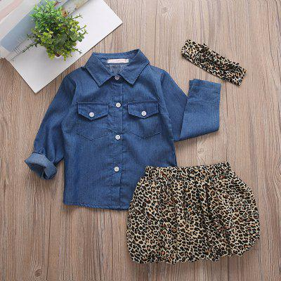 Girls' Personality Denim Shirt + Fashion Leopard Short Skirt + Hair Band Three-piece
