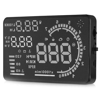 A8 5.5 Inch OBD II Car Windshield HUD Head Up Display With Speeding Fatigue Warning RPM MPH Fuel Consumption
