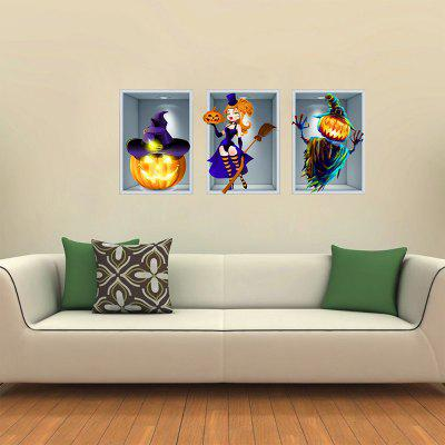 Halloween Decoration Witch Hat Pumpkin Man 3D Wall Sticker