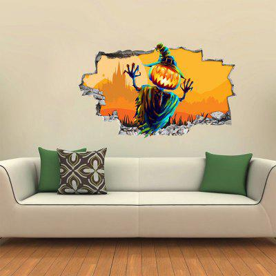 Halloween Pumpkin Wood Man 3D Wall Sticker