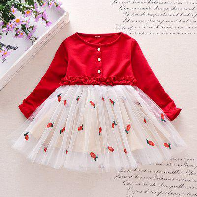 Girl's Pineapple Embroidery Motifs Dress