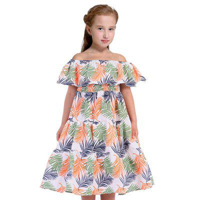 Duokipolla Leaf Pattern Off Shoulder Dress