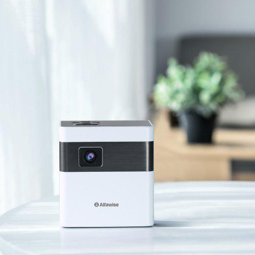 Gearbest Alfawise D2 3000 Lumens Smart Portable WiFi Mini Projector - White EU Plug High-contrast Pocket Cinema / 360 Degree Speaker Android 7.1 / 5-hour Video Playback