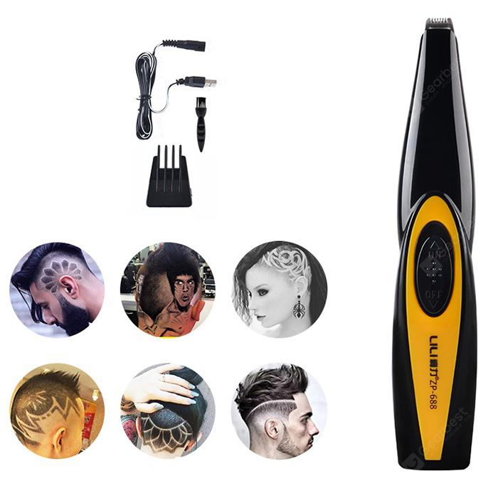 LILI ZP - 688 USB Carving Hair Clipper - Bright Yellow USB Port