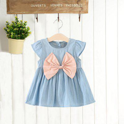 MAIDUOBAO Girl's Fashionable Solid Color Bow Denim Dress