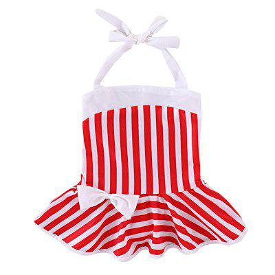 YBB - S1 Girl Fashionable Striped Bow Durable Swimsuit