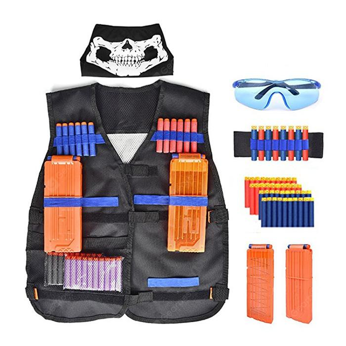 Children's Tactical Vest Equipment for The Nerf Gun Attack Elite Series Black
