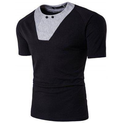 1711 DT27 Men's T-shirt Personality Color Blocking Short Sleeve
