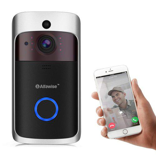 Alfawise L10 Smart Video Doorbell 720P Home Security Camera - Black