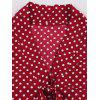 Ladies Vintage V-neck Polka Dot Dress - RED WINE
