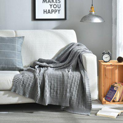 5081951 Cotton Simple Modern Solid Color Knitted Blanket