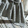 5081951 Cotton Simple Modern Solid Color Knitted Blanket - LIGHT GRAY