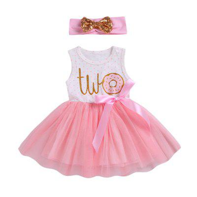 Girls Dress Dot Mesh Hair Band Princess Skirt
