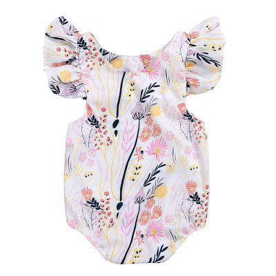 Ruffled Printed Floral Triangle Baby Bodysuit