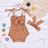 A08 Girl Fashion Suspenders Scarf Infant Clothing Set - TIGER ORANGE