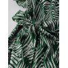 Ladies Printed Dress V-neck with Belt - DEEP GREEN