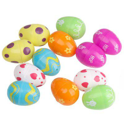 Plastic Painted Easter Eggs Decoration Gifts 12PCS