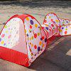 3-in-1 Portable Children Crawl Tunnel Toy Baby Play Tent Set - RED