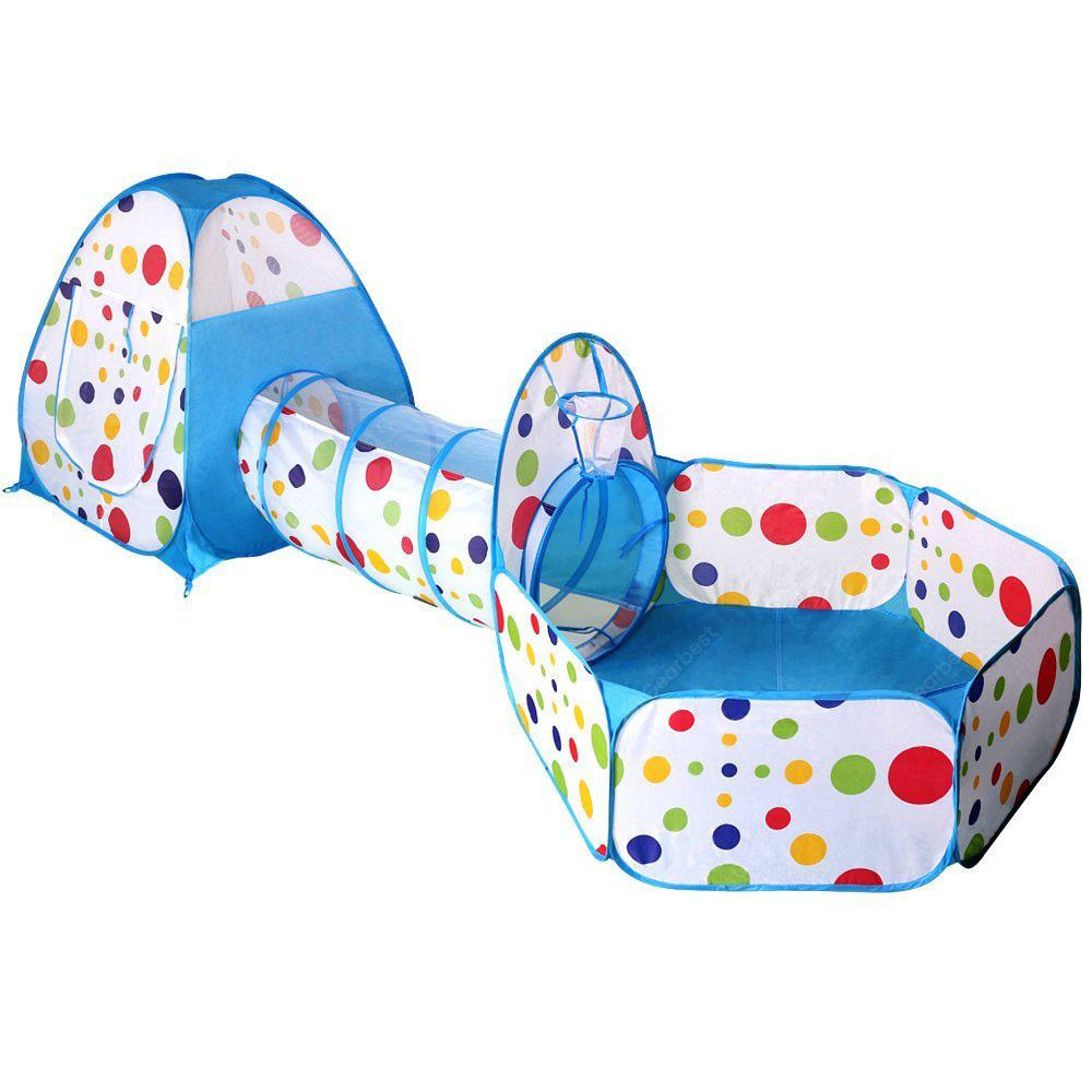 3-in-1 Portable Children Crawl Tunnel Toy Baby Play Tent Set - Blue