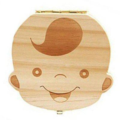 Wooden Baby Teeth Collection Box Infant Souvenir