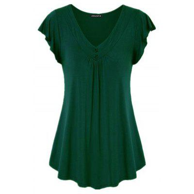 Ladies Ruffle Sleeve T-shirt Pleated V-neck