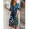 Ladies Color Striped Shirt Dress Long Sleeve Belt - MULTI-A